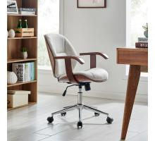 Samuel KD Fabric Bamboo Office Chair w/ Armrest, Havana Linen/Walnut *NEW*/1160031-406WL