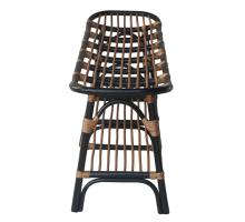 Damara Rattan Bench w/ Shelf, Black *NEW*/2400037-B