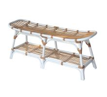 Damara Rattan Bench w/ Shelf, White *NEW*/2400037-W