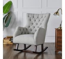 Abigail KD Fabric Tufted Rocking Arm Chair, Cardiff Gray/3900072-410