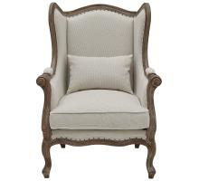 Guinevere Wing Arm Chair Brushed Smoke Frame, Cardiff Cream/Velvet Brown *NEW*/3900070-2731