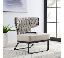 Leander KD Fabric/PU Accent Chair, Alpine Light Gray/ Fairfax Gray *NEW*/1240011-5006
