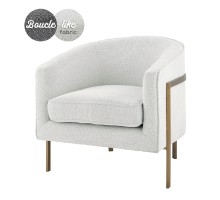 Harrod Fabric Accent Arm Chair Antique Gold Legs, Boucle Beige*NEW*/1250018-563